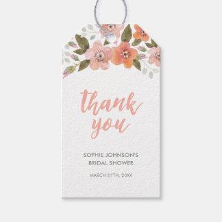 Étiquettes-cadeau Merci floral sensible de pêche pour tout événement