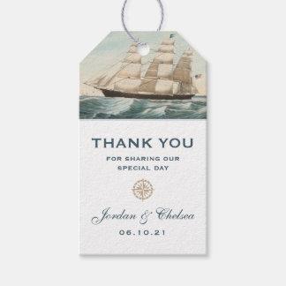 Étiquettes-cadeau Merci nautique de classique du bateau de tondeuse