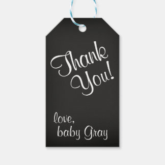 Étiquettes-cadeau Merci noir et blanc de baby shower de tableau