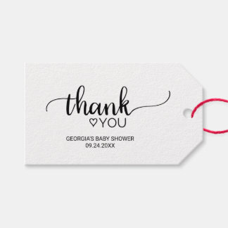 Étiquettes-cadeau Merci noir et blanc simple de calligraphie