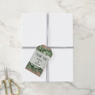 Étiquettes-cadeau Merci rustique antique de mariage de roses verts