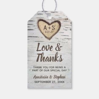 Étiquettes-cadeau Merci rustique de mariage campagnard d'écorce