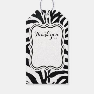 Étiquettes-cadeau Mode animale de zèbre noir et blanc moderne