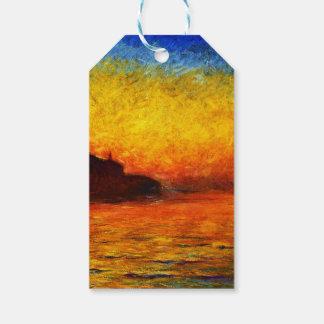 Étiquettes-cadeau Monet-Coucher du soleil de Claude à Venise