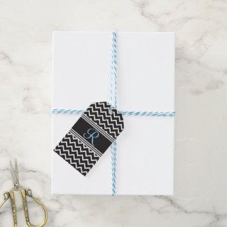 Étiquettes-cadeau Monogramme gothique blanc de zigzag du noir |