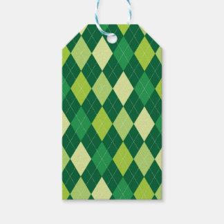 Étiquettes-cadeau Motif à motifs de losanges vert