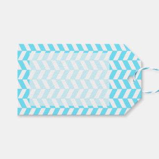 Étiquettes-cadeau Motif bleu lumineux blanc en arête de poisson de