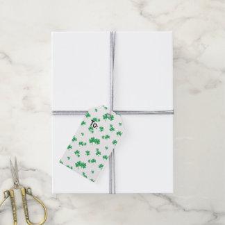 Étiquettes-cadeau Motif irlandais vert de shamrock de gradient
