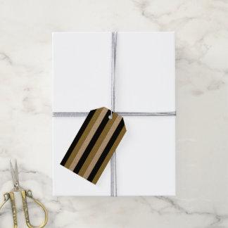 Étiquettes-cadeau Motif noir élégant de rayures d'or blanc