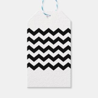Étiquettes-cadeau Motif noir et blanc de Chevron