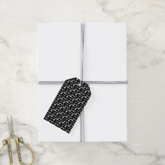 Étiquettes-cadeau motif noir et blanc de Halloween de battes