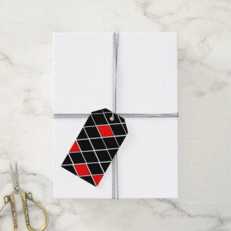 Étiquettes-cadeau motif noir et blanc et rouge de diamants