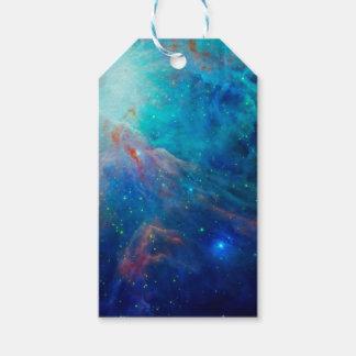 Étiquettes-cadeau Nébuleuse d'Orion miroitant la NASA bleue