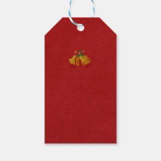 Étiquettes-cadeau Noël Bells jaune sur l'étiquette rouge de cadeau