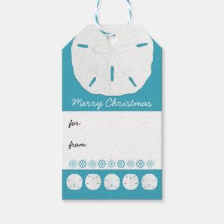 Étiquettes-cadeau Noël bleu de plage des dollars de sable