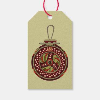 Étiquettes-cadeau Noël de bobine de pêche de mouche