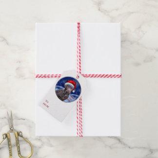 Étiquettes-cadeau Noël de labrador retriever de chocolat