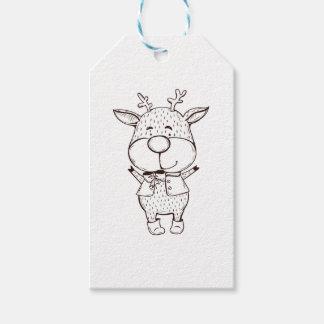 Étiquettes-cadeau Noël mignon de Rudolf noir et blanc