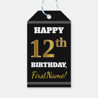 Étiquettes-cadeau Noir, anniversaire d'or de Faux 12ème + Nom fait