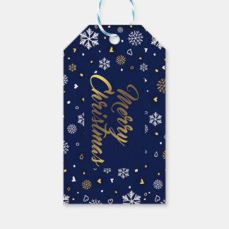 Étiquettes-cadeau Or de Joyeux Noël et flocons de neige blancs