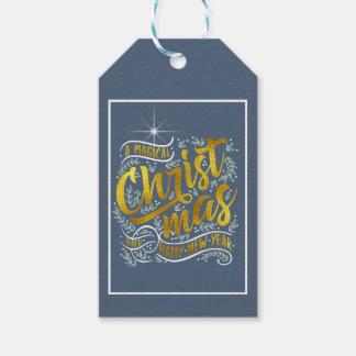 Étiquettes-cadeau Or magique ID441 de typographie de Noël
