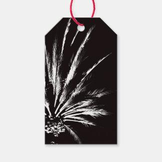 Étiquettes-cadeau Palmier noir et blanc