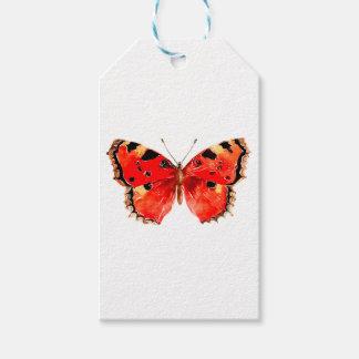 Étiquettes-cadeau Papillon de rouge d'aquarelle de papillon