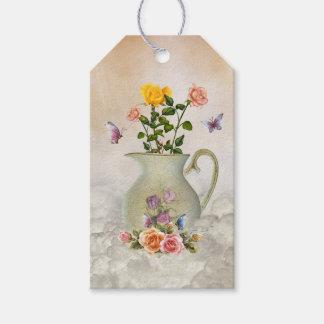 Étiquettes-cadeau Paquet de papillons et de roses d'étiquettes de