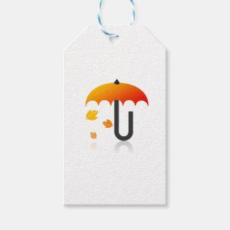 Étiquettes-cadeau Parapluie et feuille