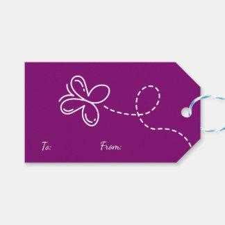 Étiquettes-cadeau Partie/mariage pourpres de papillon de Merci