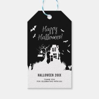Étiquettes-cadeau Partie noire et par blanc hantée de Halloween de