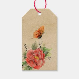 Étiquettes-cadeau Pavot vintage et papillon