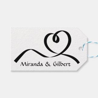 Étiquettes-cadeau Personnalisé épousant l'amour noir et blanc de