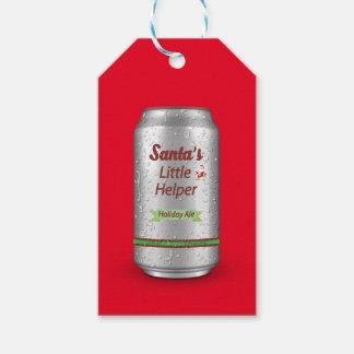 Étiquettes-cadeau Petite canette de bière de l'aide de Père Noël