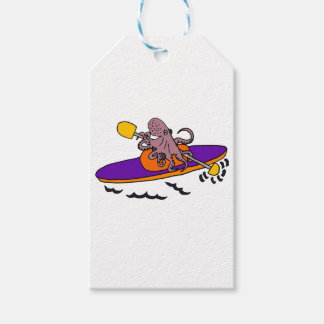 Étiquettes-cadeau Poulpe pourpre drôle Kayaking