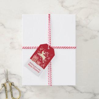 Étiquettes-cadeau Renne de Noël caracolant au-dessus de l'étiquette