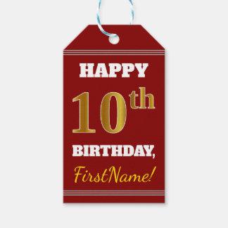 Étiquettes-cadeau Rouge, anniversaire d'or de Faux 10ème + Nom fait