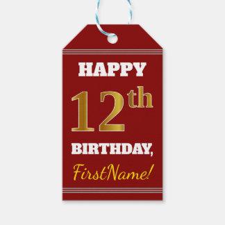 Étiquettes-cadeau Rouge, anniversaire d'or de Faux 12ème + Nom fait