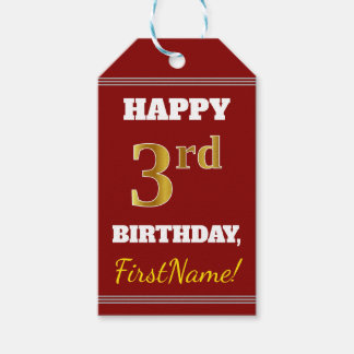 Étiquettes-cadeau Rouge, anniversaire d'or de Faux 3ème + Nom fait