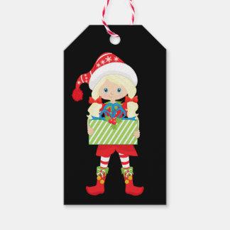 Étiquettes-cadeau Rouge d'Elf de fille/Blonde/in avec le cadeau de
