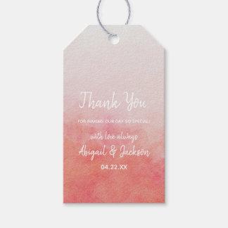 Étiquettes-cadeau Rougissent Merci de mariage d'aquarelle de rose et