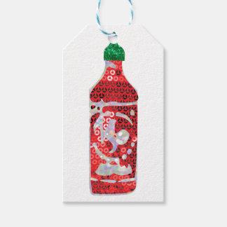 Étiquettes-cadeau sauce chaude à paillette