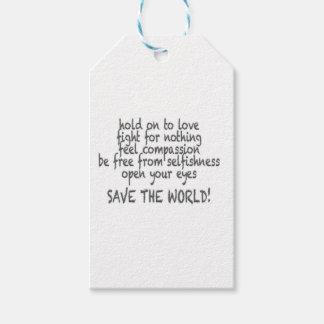 Étiquettes-cadeau sauvez le monde