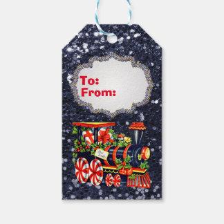 Étiquettes-cadeau Scintillement bleu de Faux de train de Choo Choo