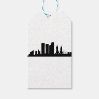 Étiquettes-cadeau Silhouette de paysage urbain