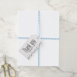 Étiquettes-cadeau Simple, noir et blanc, Merci, élégant