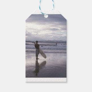 Étiquettes-cadeau Surfer de coucher du soleil de Melbourne
