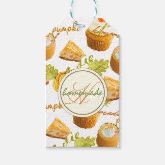 Étiquettes-cadeau Tarte de citrouille d'aquarelle et monogramme
