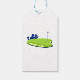 Étiquettes-cadeau Terrain de golf de caddie de golfeur rétro
