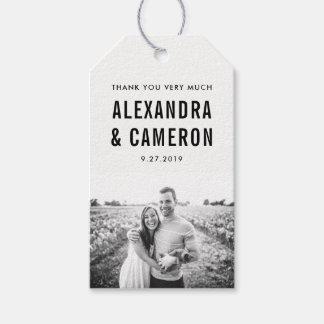 Étiquettes-cadeau Texte noir audacieux du mariage | sur le blanc